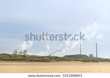 Dutch steel industry in Wijk aan Zee at the coast