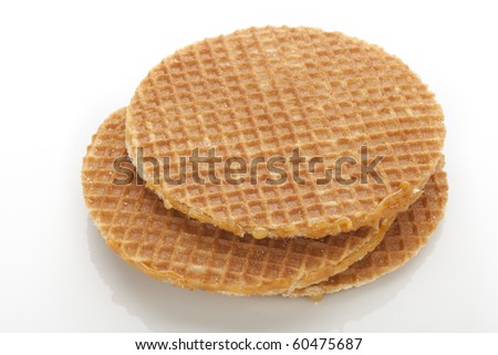 Dutch stroopwafels isolated on white background.