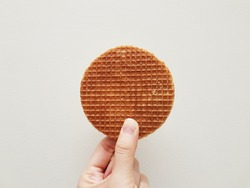 Dutch waffle called a stroopwafel on hand at white background