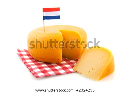 Dutch whole cheese with flag and checkered napkin
