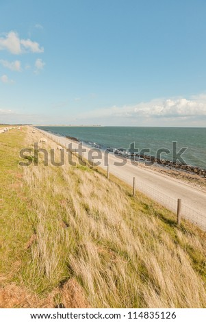 Dutch wide landscape with dike and blue cloudy sky. Waddenzee. Waddensea. Wadden island. Texel. The Netherlands.