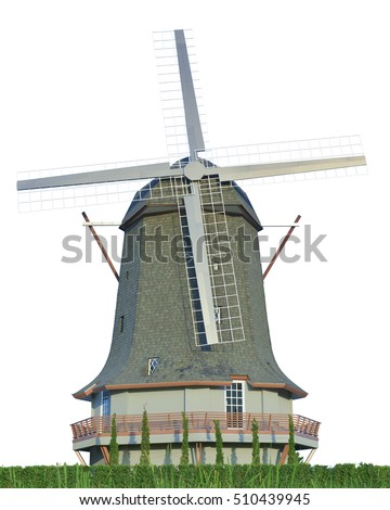 Dutch windmill farm isolate Traditional old windmill building single object color concept clean energy isolated illustration . This has clipping path.