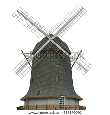Dutch windmill farm isolate Traditional old windmill building single object color concept clean energy isolated illustration . This has clipping path.\n