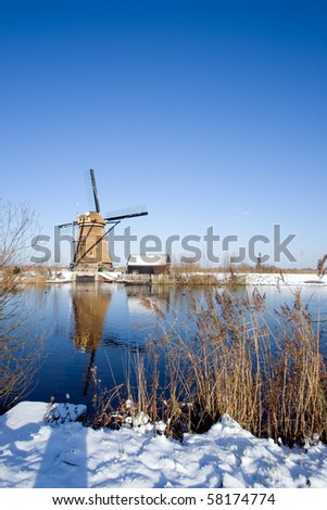 Dutch windmill in the Kinderdijk area, Holland