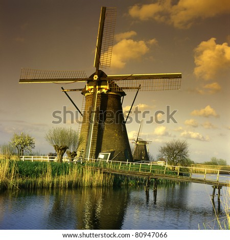 Dutch windmills of Kinderdijk, Holland, UNESCO World Heritage Site