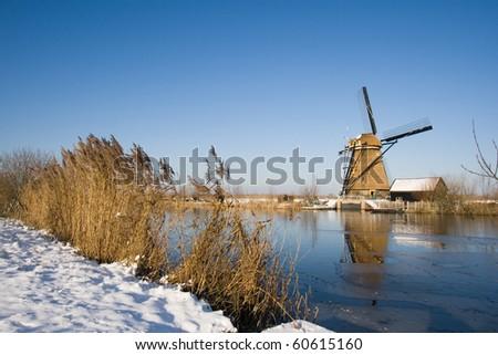 Dutch winter with windmill