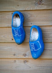 Dutch wooden oldfashioned footwear blue painted carved klompen