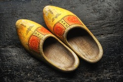 Dutch Wooden Shoes on a black background