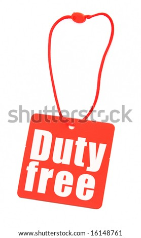 Duty free tag on white, photo does not infringe any copyright