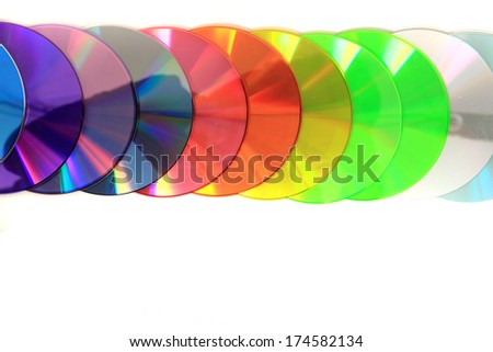 DVD and CD data disc in the rainbow colors isolated on the white background