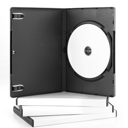 DvD Case Open With DvD Disk isolated on white background