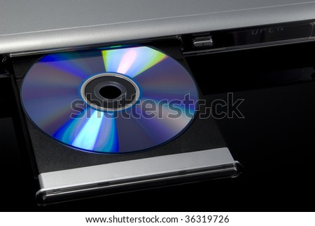 DVD disc inserted in DVD player disc tray