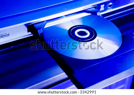 DVD disc on the tray of a dvd-player
