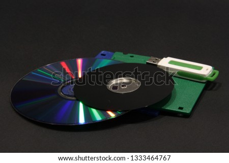DVD, floppy disk and flash disk