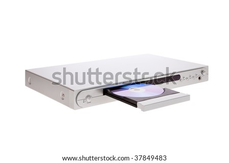 DVD player ejecting disc with isolated on white background - stock photo