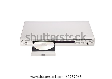 DVD player ejecting disc with isolated on white background