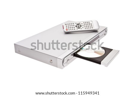 DVD player ejecting disc with remote control isolated on white background