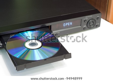 DVD player with an open tray, white background