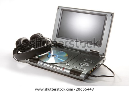 DVD player with headphones on white background