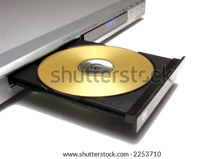 dvd player with open tray with a gold disk