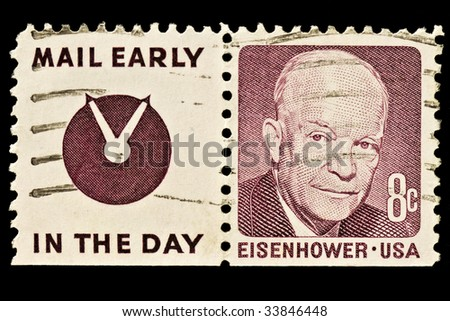 "Dwight D. Eisenhower 34th President of the United States (1953?1961) with slogan ""Mail Early In The Day"".  Issued in 1970"