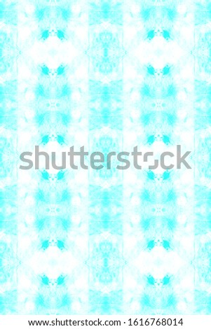 Dye Bohemian. Color Mess. Liquid Watercolor Effect. Blue,Cyan,White Folk Endless Artistic Backdrop. Continuous Illustration. Abstract Textile Ornament. Wavy Dye Bohemian.