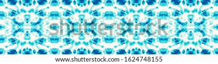 Dye Bohemian. Smudge Pattern. Watercolor Smear. Indigo,Cyan,White Folk Endless Artistic Backdrop. Bright Urban Illustration. Abstract Infinite Template. Cool Dye Bohemian.