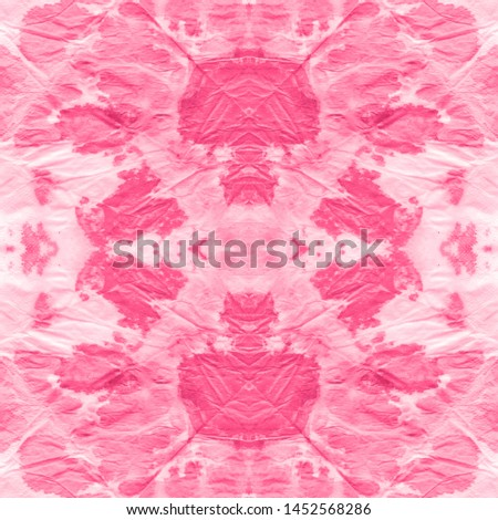 Dye effect. Fabric design print. Shibori boundless backdrop. Vintage bohemian ornament. Bohemian fashion painting. Pink, white dye effect.