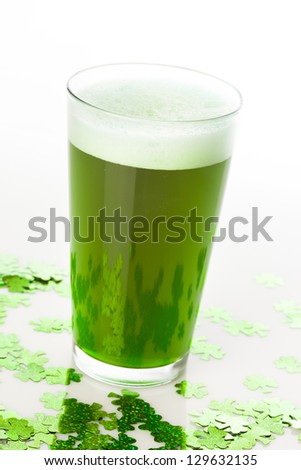Dyed Green Beer for St. Patricks Day Celebration