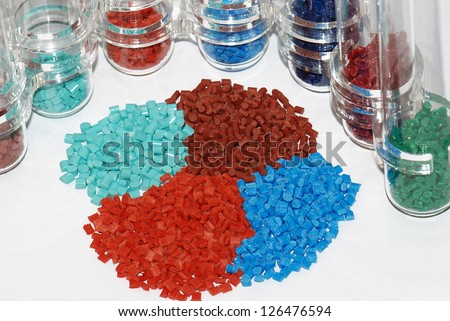 dyed polymer resin in test-tubes in laboratory