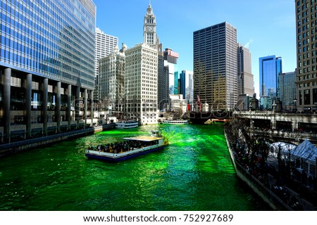 Dyeing of the Chicago river on Saint Patrick's day