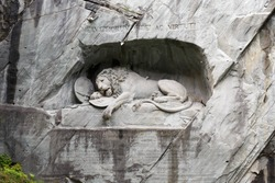 Dying Lion monument, a sculpture carved in the rock to commemorate Swiss Guards who were massacred during the French Revolution in 1792.
