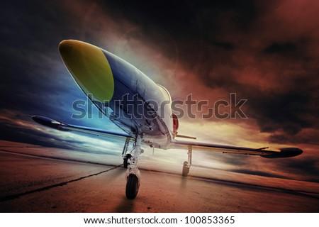 dynamic airplane awaiting stardom - stock photo