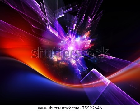 Dynamic burst of abstract color forms and lights against dark background on the subject of positive energy, action and joy