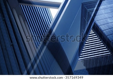 Dynamic business cityscape. Double exposure of urban scenes with contemporary architecture.