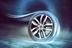 Dynamic car tire on the road
