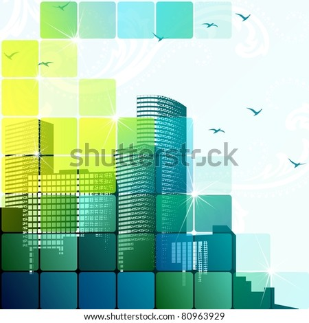 Dynamic cityscape in green (jpg); vector version also available
