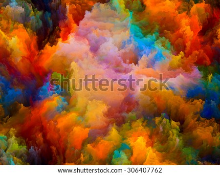 Dynamic Color series. Backdrop composed of Colorful fractal clouds and graphic elements and suitable for use in the projects on forces of nature, art, design and creativity