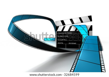 dynamic 3d Clapper board and film reel in blue and black on white back drop
