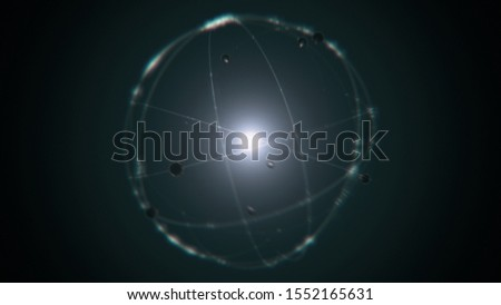 dynamic energetic green silver atom model concept illustration of glowing proton neutron nucleus, visualization of atom space physics of centric gravity and electrons orbiting as ordered real particle