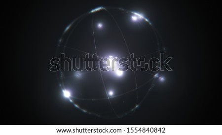 dynamic energetic white silver atom model concept illustration of glowing proton neutron nucleus, visualization of atom space physics, centric gravity and electrons orbiting as ordered real particles