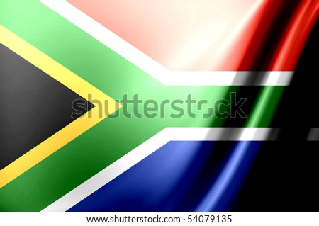 Dynamic flag of south africa. Waves illustration