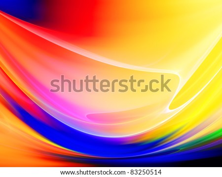 Dynamic interplay of colorful abstract forms on the subject of motion, dynamism and joy