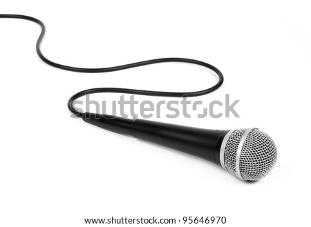 dynamic mic with a curled cable over white.