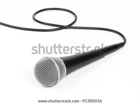 Dynamic microphone with cable on a white background