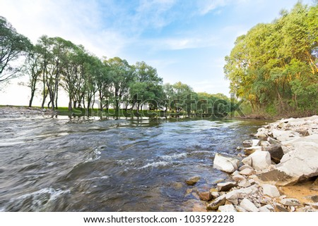 Dynamic river Lyubka in Ukraine, Putivl, Sumy region