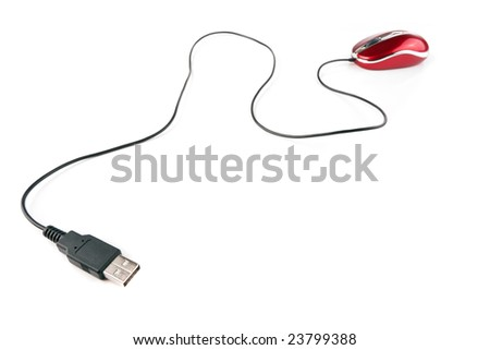 dynamic view of unplugged usb mouse isolated on white