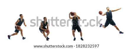 Dynamic. Young basketball player of team training in action, motion in jump of step-to-step goal isolated on white background. Concept of sport, movement, energy and dynamic, healthy lifestyle.