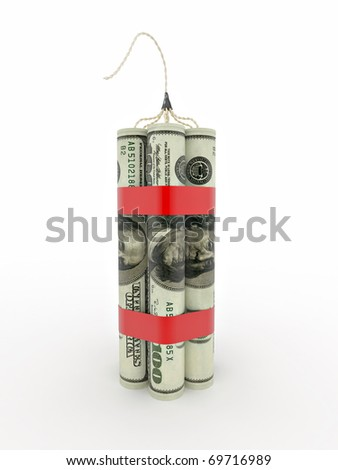 Dynamit from dollar on white isolated background. 3d