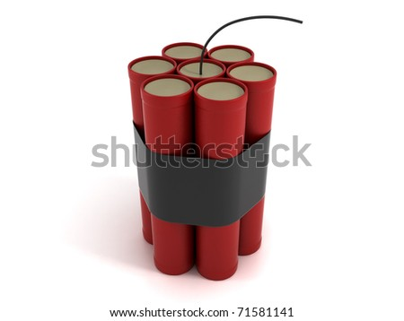 Dynamite. Seven Bomb Sticks Isolated on White Background